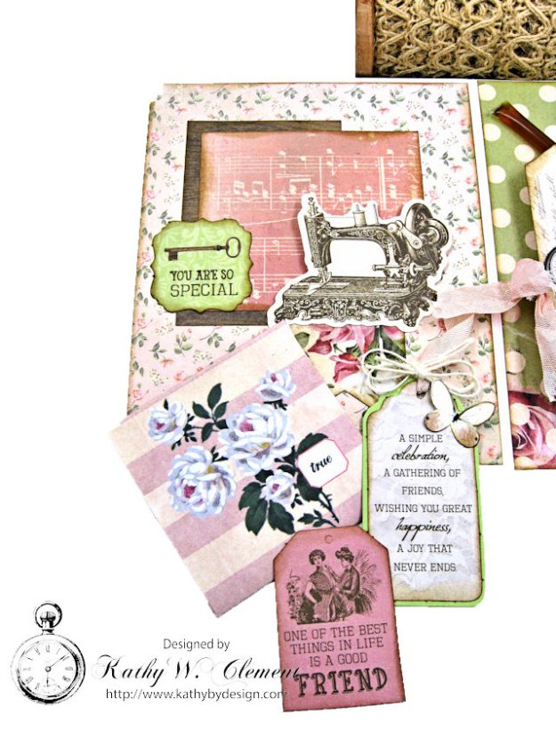 Stitched with Love Friendship Card Folio Mademoiselle by Kathy Clement for Really Reasonable Ribbon Product by Kaisercraft Photo 4