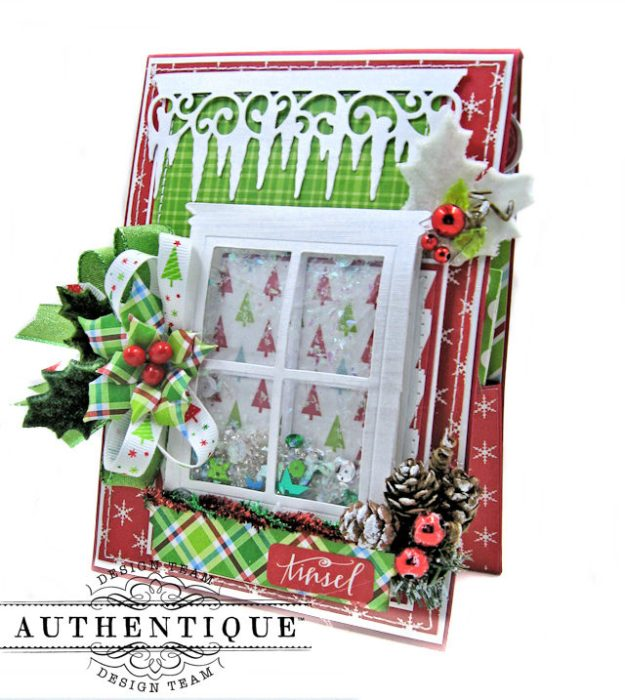 Frosty Windowpanes Christmas Shaker Card Folio Jolly Christmas by Kathy Clement Product by Authentique Photo 2
