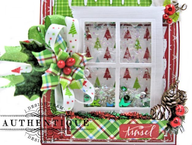 Frosty Windowpanes Christmas Shaker Card Folio Jolly Christmas by Kathy Clement Product by Authentique Photo 3