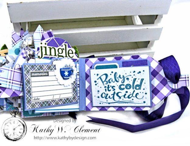 Frosty Winter Mini Tag Album Tutorial by Kathy Clement for Tammy Tutterow Designs Product by Spellbinders and Authentique Photo 15