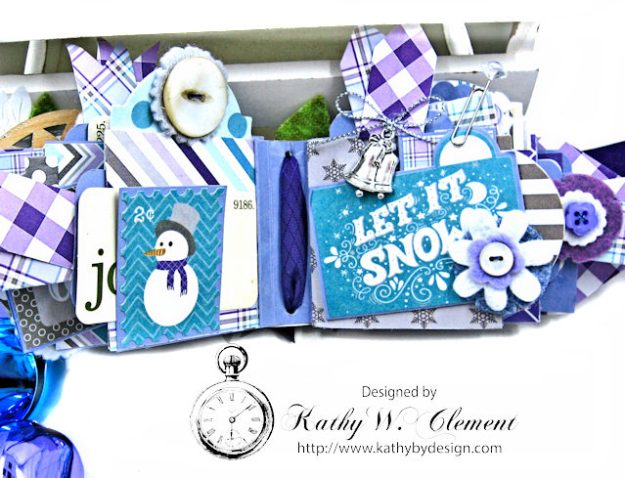 Frosty Winter Mini Tag Album Tutorial by Kathy Clement for Tammy Tutterow Designs Product by Spellbinders and Authentique Photo 9
