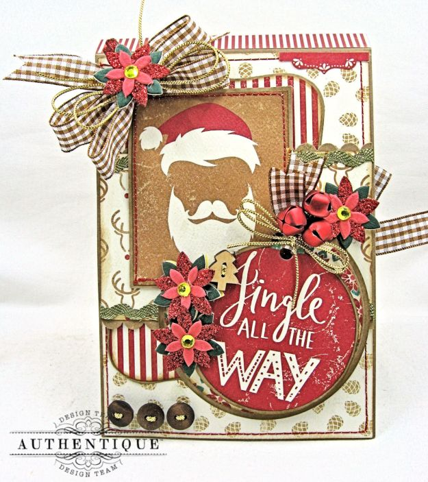 Jingle All the Way Christmas Card Folio Colorful Christmas by Kathy Clement Product by Authentique Photo 1