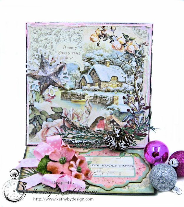 Shabby Chic Woodland Christmas Easel Card Sweet Christmas by Kathy Clement for Really Reasonable Ribbon Product by Stamperia Photo 1