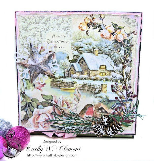 Shabby Chic Woodland Christmas Easel Card Sweet Christmas by Kathy Clement for Really Reasonable Ribbon Product by Stamperia Photo 4