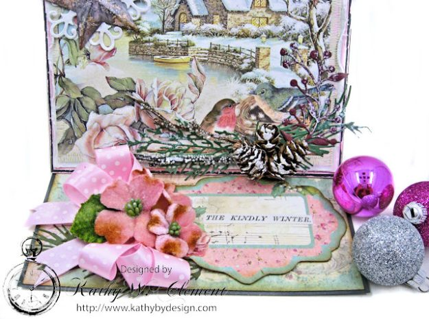 Shabby Chic Woodland Christmas Easel Card Sweet Christmas by Kathy Clement for Really Reasonable Ribbon Product by Stamperia Photo 3