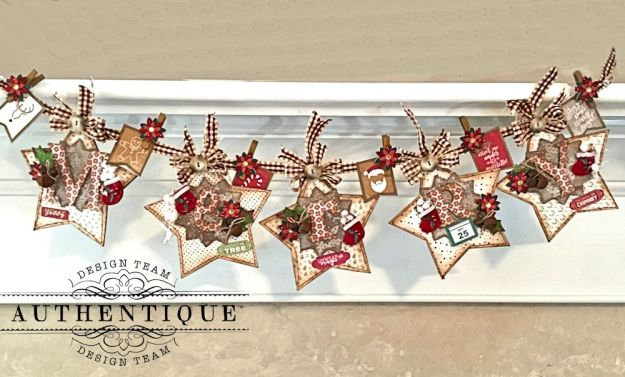 Merry Christmas Star Banner Colorful Christmas by Kathy Clement Product by Authentique Photo 1
