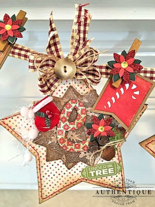 Merry Christmas Star Banner Colorful Christmas by Kathy Clement Product by Authentique Photo 3