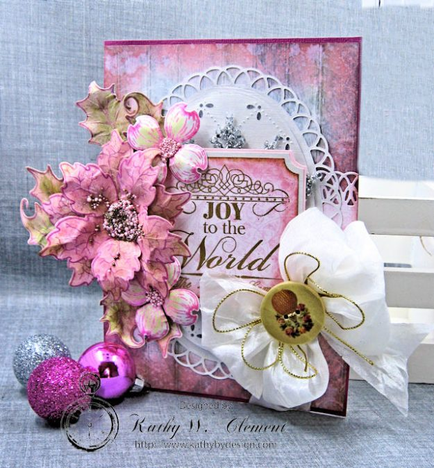 Pink Christmas Poinsettia Greeting Card Tutorial by Kathy Clement for Heartfelt Creations Alumni Hop Photo 3
