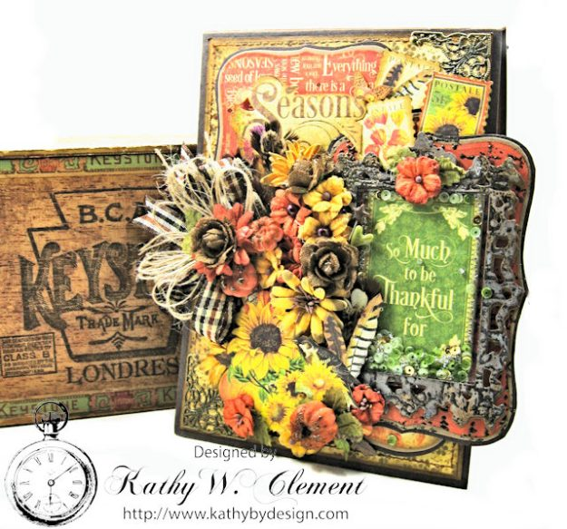 Thankful Season Card Folio Seasons by Kathy Clement for Frilly and Funkie Give Thanks Challenge Product by Graphic 45 Photo 2