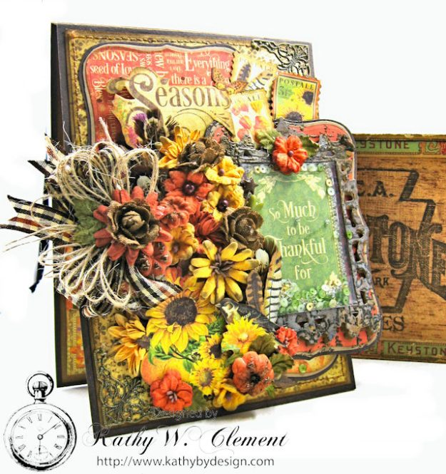 Thankful Season Card Folio Seasons by Kathy Clement for Frilly and Funkie Give Thanks Challenge Product by Graphic 45 Photo 3