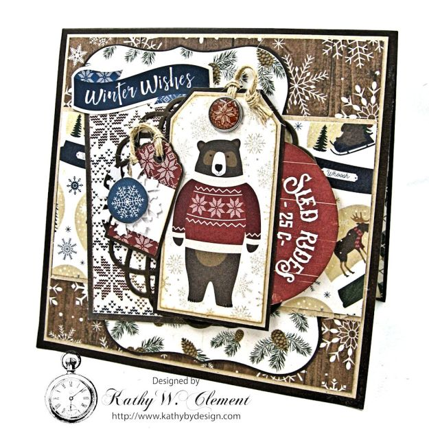 Beary Merry Christmas Pop Up Gift Card Holder Cabin Fever by Kathy Clement Product by Carta Bella Photo 1