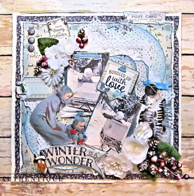 Authentique Alpine Bundled Up With Love Layout by Kathy Clement Product by Authentique Photo 1