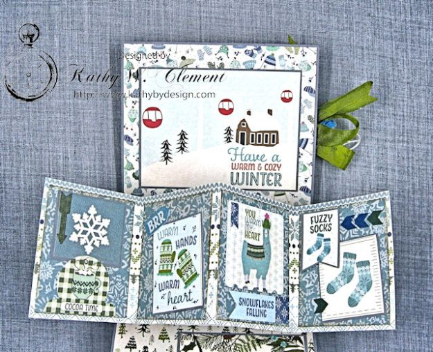 Happy Winter Twist and Pop Card Tutorial Alpine by Kathy Clement Product by Authentique Paper Photo 4