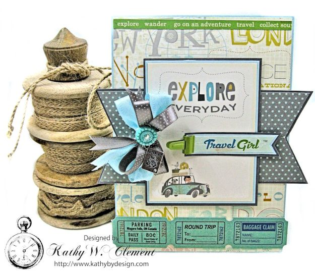Quick and Easy Travel Girl Birthday Card Travel Girl by Kathy Clement Product by October Afternoon Photo 1