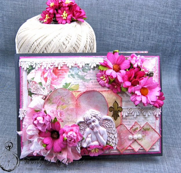 Old World Vintage Style Valentine Folio Heart Painted by Kathy Clement Product by Lemon Craft Photo 1