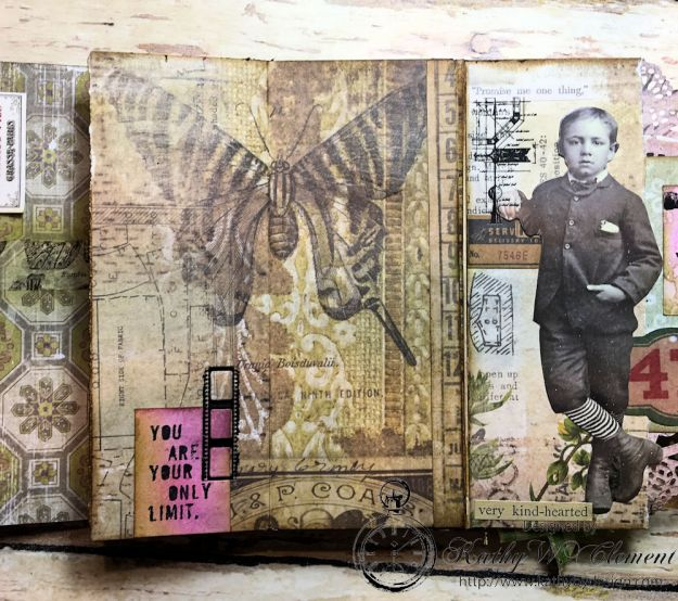 Dragonfly Discover Junk Journal Wallflower by Kathy Clement for Frilly and Funkie Product by Tim Holtz Photo 15