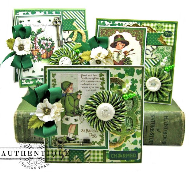 Authentique Shamrock Card Tutorial Shamrock by Kathy Clement Product by Authentique Photo 1