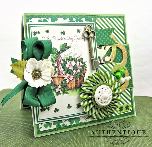 Authentique Shamrock Card Tutorial Shamrock by Kathy Clement Product by Authentique Photo 2