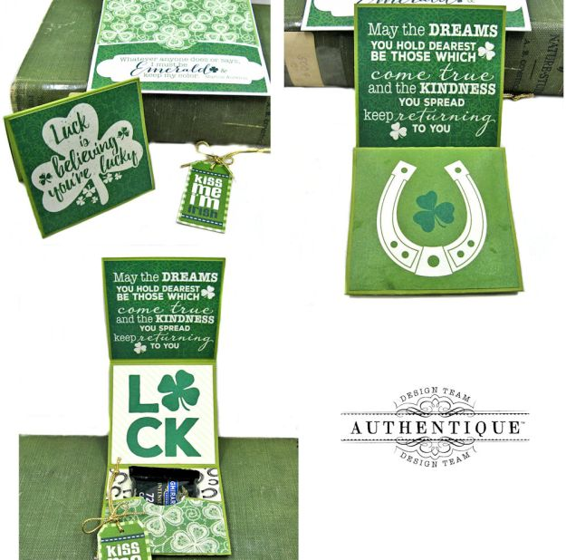Authentique Shamrock Card Tutorial Shamrock by Kathy Clement Product by Authentique Photo 8