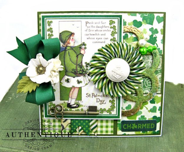 Authentique Shamrock Card Tutorial Shamrock by Kathy Clement Product by Authentique Photo 4