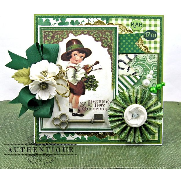 Authentique Shamrock Card Tutorial Shamrock by Kathy Clement Product by Authentique Photo 3