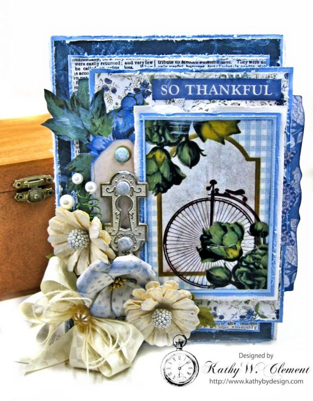 Blooming Blue Bicycle Greeting Card Wandering Ivy by Kathy Clement Product by Kaisercraft Photo 01
