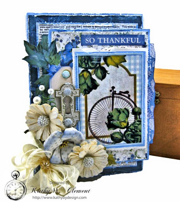 Blooming Blue Bicycle Greeting Card Wandering Ivy by Kathy Clement Product by Kaisercraft Photo 02