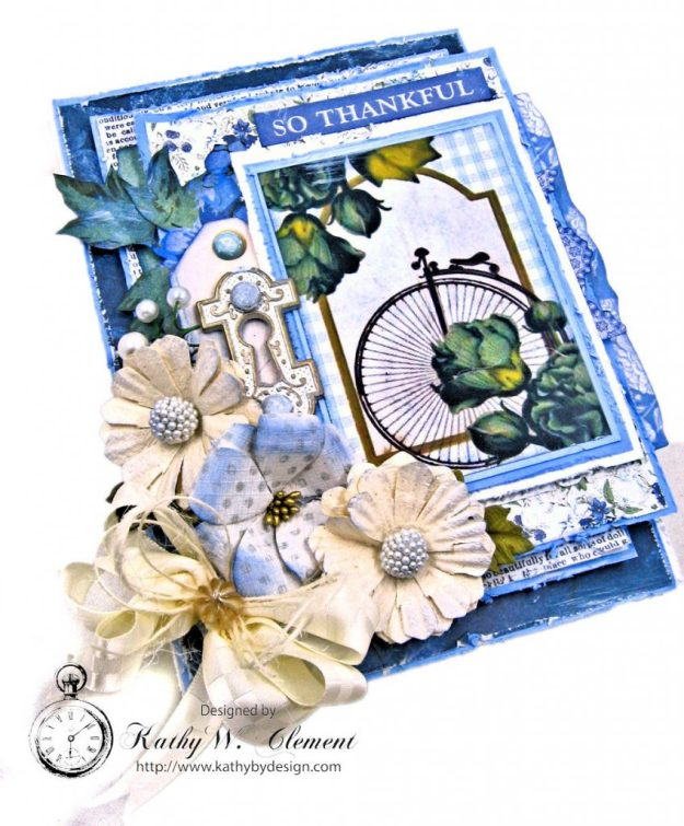 Blooming Blue Bicycle Greeting Card Wandering Ivy by Kathy Clement Product by Kaisercraft Photo 03