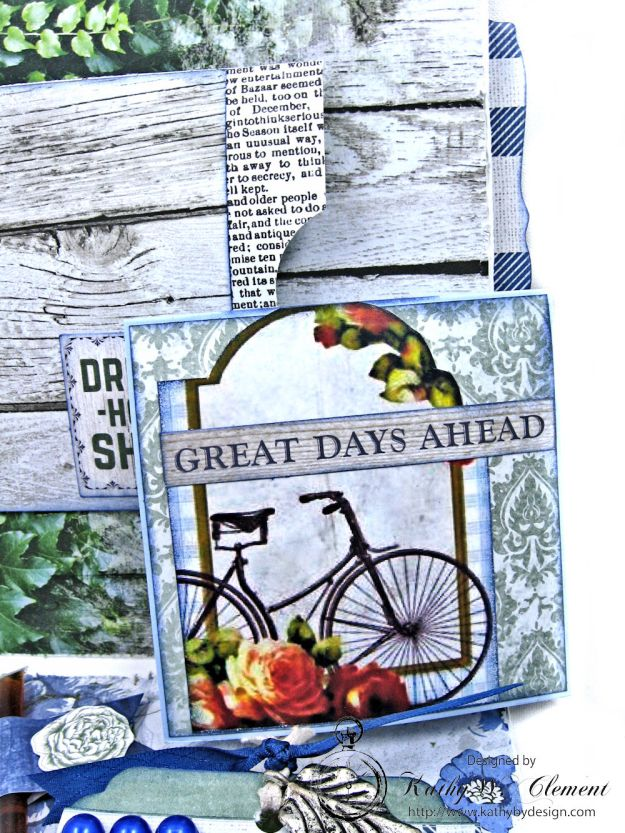 Blooming Blue Bicycle Greeting Card Wandering Ivy by Kathy Clement Product by Kaisercraft Photo 05