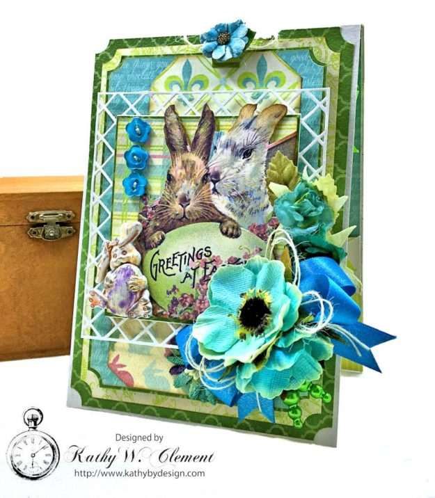 Blue Bunnies Vintage Style Easter Card Springtime by Kathy Clement for Really Reasonable Ribbon Product by Authentique Paper Photo 02