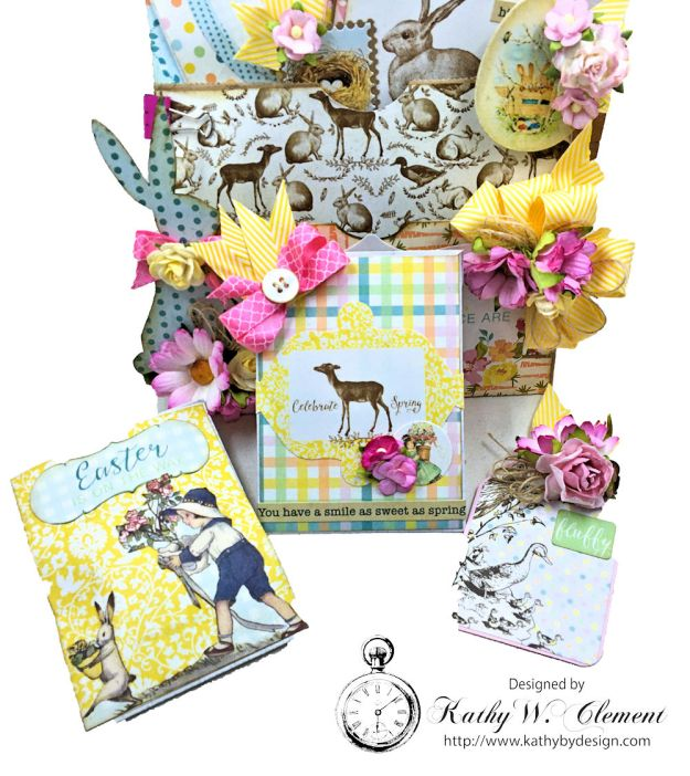 Shabby Chic Paper Bag Pocket Easter Card Eastertime by Kathy Clement for Really Reasonable Ribbon Product by Authentique Photo 03