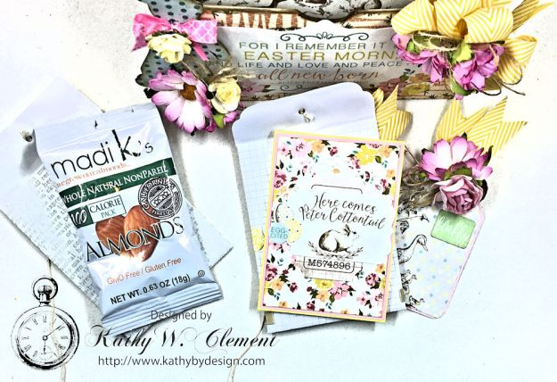 Shabby Chic Paper Bag Pocket Easter Card Eastertime by Kathy Clement for Really Reasonable Ribbon Product by Authentique Photo 04