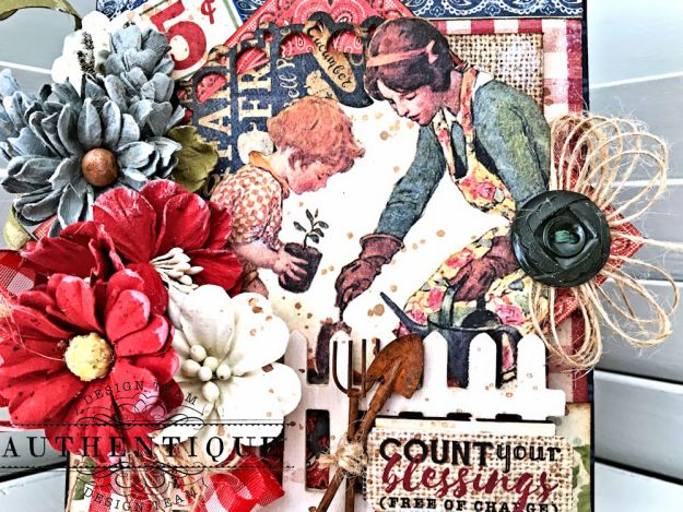 Country Blessings Folio Tutorial Frontier by Kathy Clement Product by Authentique Paper Photo 05