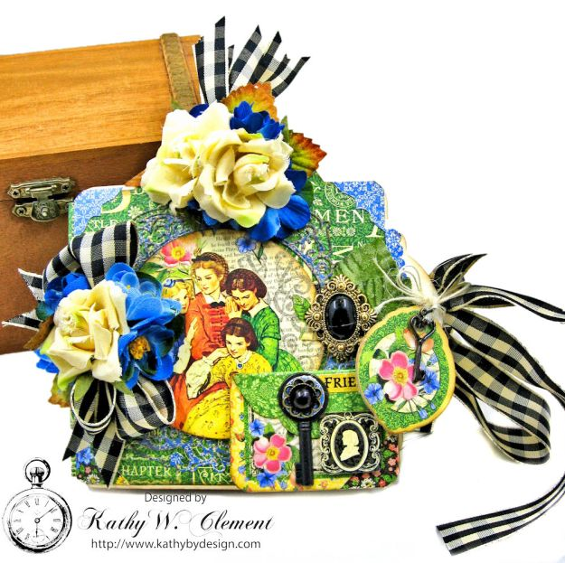 Little Women Square Tag and Clock Die Mini Folio Tutorial Little Women by Kathy Clement for Frilly and Funkie Product by Graphic 45 Photo 03