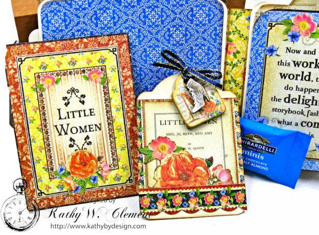 Little Women Square Tag and Clock Die Mini Folio Tutorial Little Women by Kathy Clement for Frilly and Funkie Product by Graphic 45 Photo 06