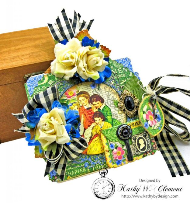 Little Women Square Tag and Clock Die Mini Folio Tutorial Little Women by Kathy Clement for Frilly and Funkie Product by Graphic 45 Photo 01