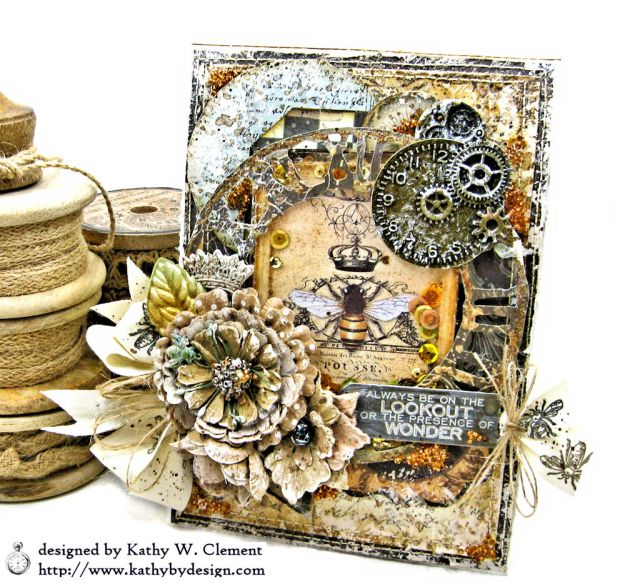 Mixed Media Honeybee All Occasion Shaker Card Alchemy by Kathy Clement Product by Stamperia Photo 01