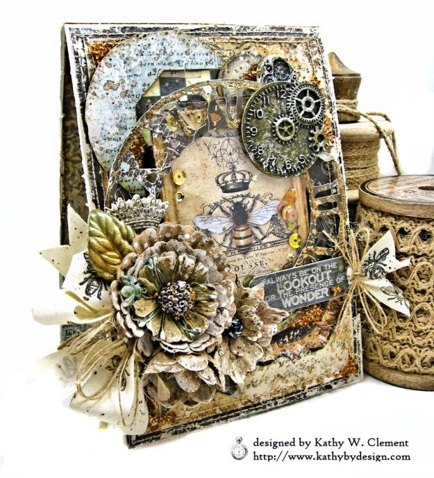 Mixed Media Honeybee All Occasion Shaker Card Alchemy by Kathy Clement Product by Stamperia Photo 05