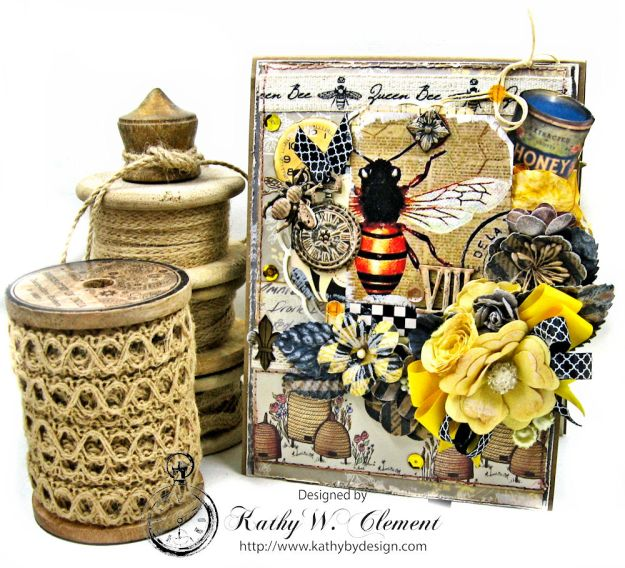 Queen Bee Shabby Chic Card Folio Tell it to the Bees by Kathy Clement for Really Reasonable Ribbon Product by Craft Consortium Photo 01