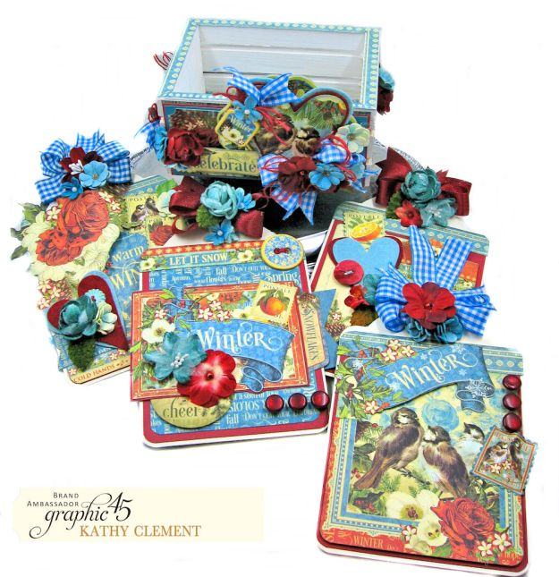 Graphic 45 Seasons Altered Mini Crate and Tags by Kathy Clement Photo 06