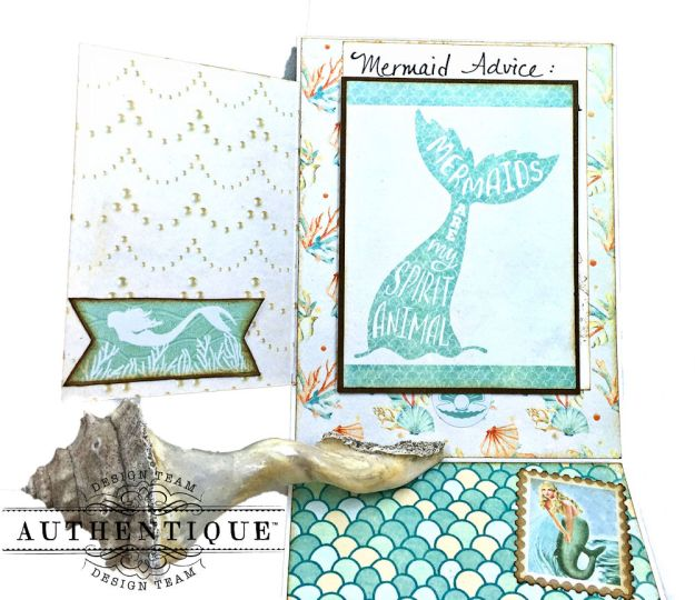 Be Mermazing Mermaid Shaker Card Sea Maiden by Kathy Clement Product by Authentique Photo 04