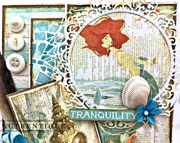 Sea of Tranquility Card Folio Tutorial Sea Maiden by Kathy Clement Product by Authentique Photo 02