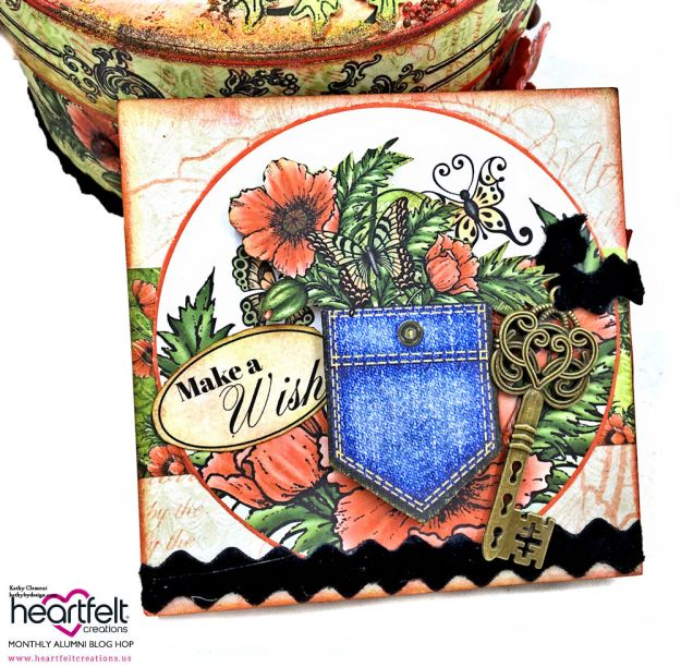 Blazing Poppy Altered Keepsake Box Blazing Poppy by Kathy Clement Product by Heartfelt Creations Photo 05