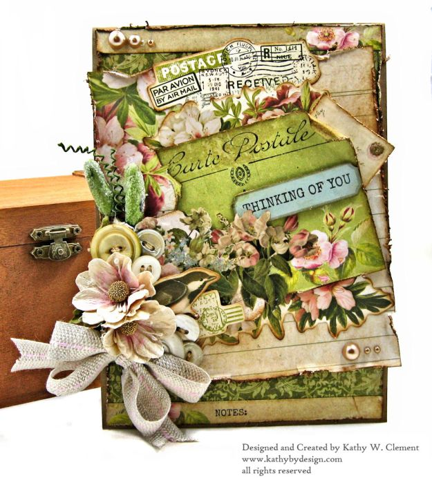 Soft and Shabby Thinking of You Card Cherry Tree Lane by Kathy Clement for Really Reasonable Ribbon Product by Kaisercraft Photo 01