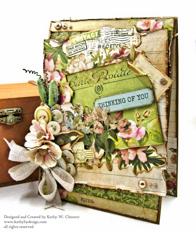 Soft and Shabby Thinking of You Card Cherry Tree Lane by Kathy Clement for Really Reasonable Ribbon Product by Kaisercraft Photo 02