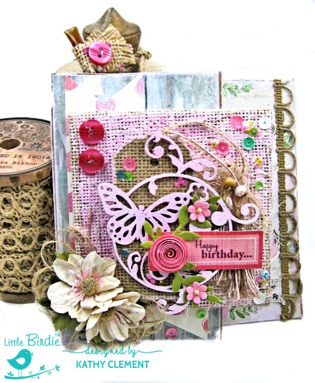 Butterfly Birthday Mixed Media Card Tutorial True Love Story by Kathy Clement Prodcut by Little Birdie Crafts Photo 01
