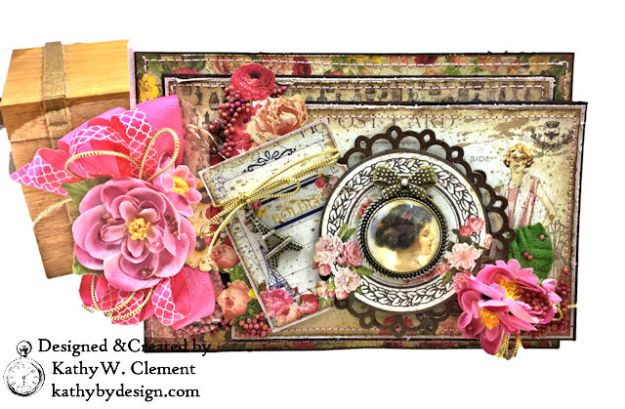 Dame Pretty Pink Parisian Card Dame by Kathy Clement for Really Reasonable Ribbon Product by Authentique Photo 02