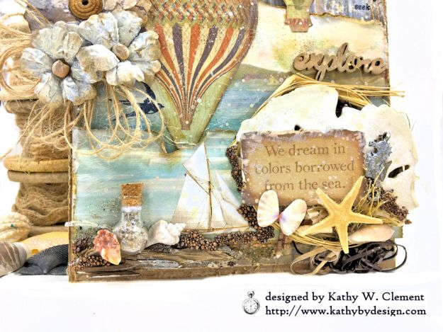 Sea Dreams Mixed Media Card Sea Land by Kathy Clement Product by Stamperia Photo 03