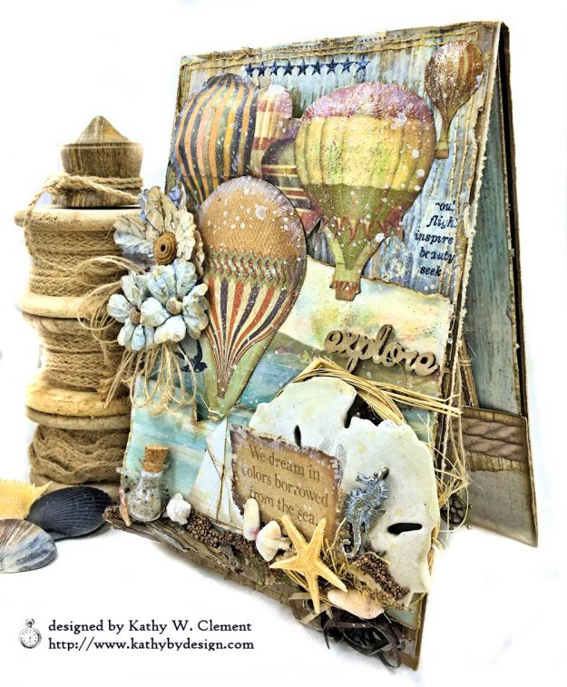 Sea Dreams Mixed Media Card Sea Land by Kathy Clement Product by Stamperia Photo 04