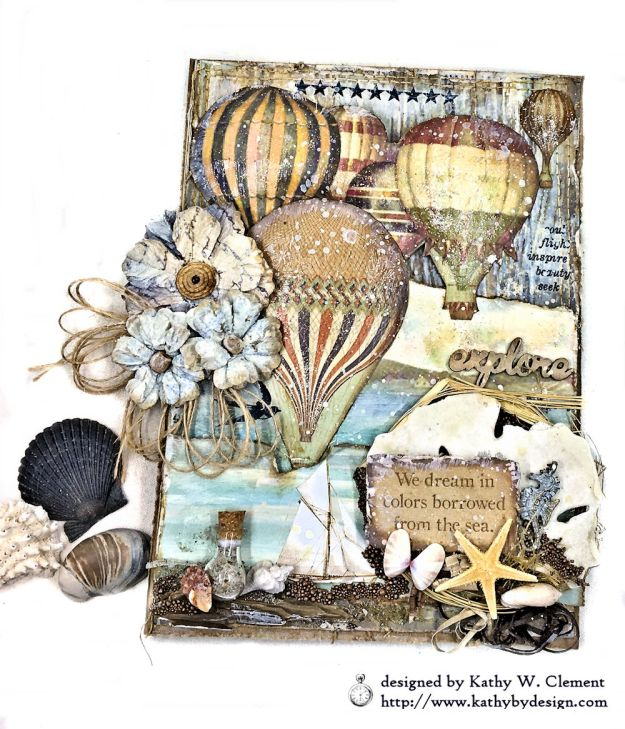 Sea Dreams Mixed Media Card Sea Land by Kathy Clement Product by Stamperia Photo 05